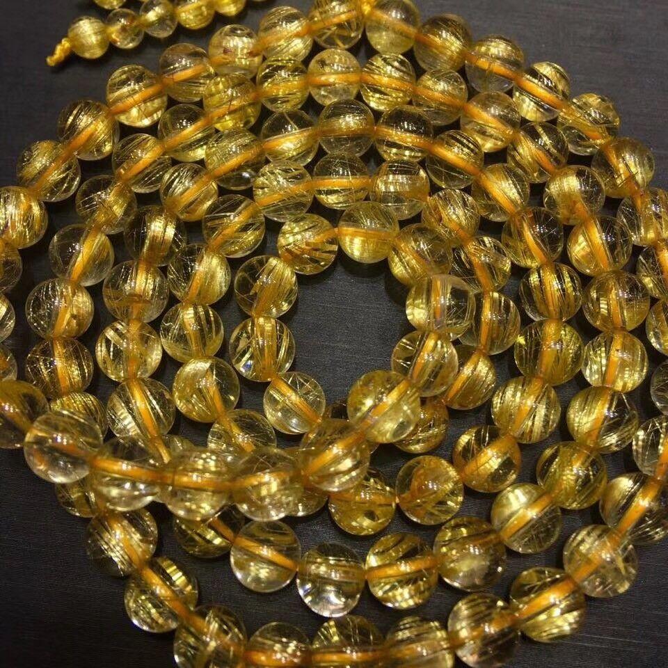6.5mm Natural gold Quartz golden Hair Rutilated Crystal Bracelet
