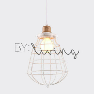 Cosy modern vintage minimal lighting wood timber white metal cage image is loading cosy modern vintage minimal lighting wood timber white mozeypictures Choice Image