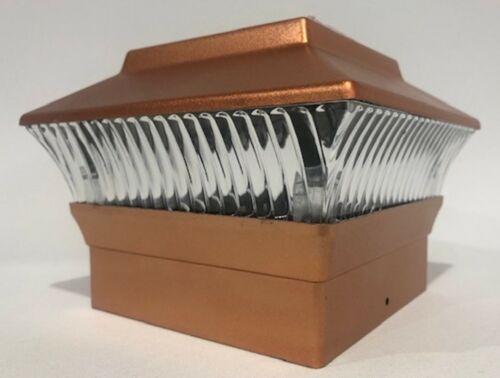 8 Pack 4x4 Solar Powered Plastic Black//Copper LED Square Fence Post Light
