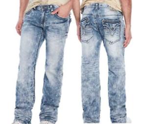 AFFLICTION Mens Denim Jeans COOPER STANDARD V PORTLAND Embroidered BKE  NWT