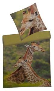 Villa Noblesse Renforce Fotodruck Bettwäsche Set Giraffe 135 X 200