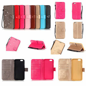 Strap-Bling-Embossing-Flower-Leather-Wallet-Card-Flip-Case-Cover-For-Samsung-YB