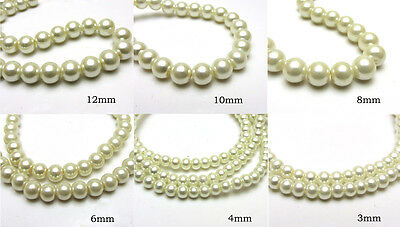 3MM/4MM/6MM/8MM/10MM/12MM Glass Pearl Czech Round Loose Jewelry Beads Milk White