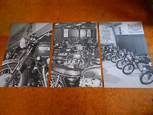 TRIUMPH MOTORCYCLE DEALER SHOWROOM SET 1969 1970 WALL ART B&W 24X36 POSTER SIGN
