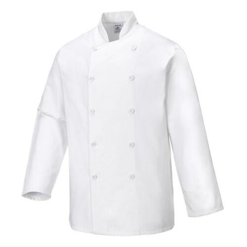 Portwest Men Sussex Chefs Jacket White Various Size C836