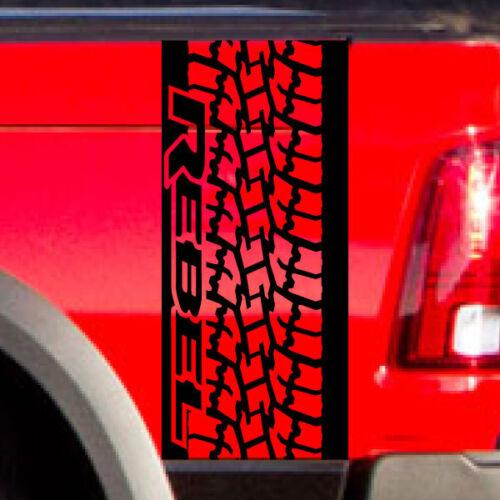 Dodge Ram Rebel Side Stripe Tire Tread Bed Logo Truck Vinyl Decal Graphic Chrome