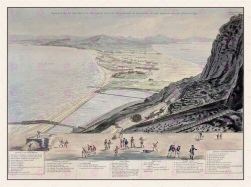 MAP ANTIQUE MILITARY 1783 DE POGGI 1781 BRITISH GIBRALTAR  PRINT POSTER LF1750