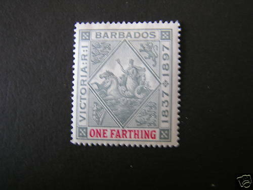 BARBADOS, SCOTT # 81, 1f. VALUE GRAY & CARMINE VICTORIA JUBILEE 1897 ISSUE MH