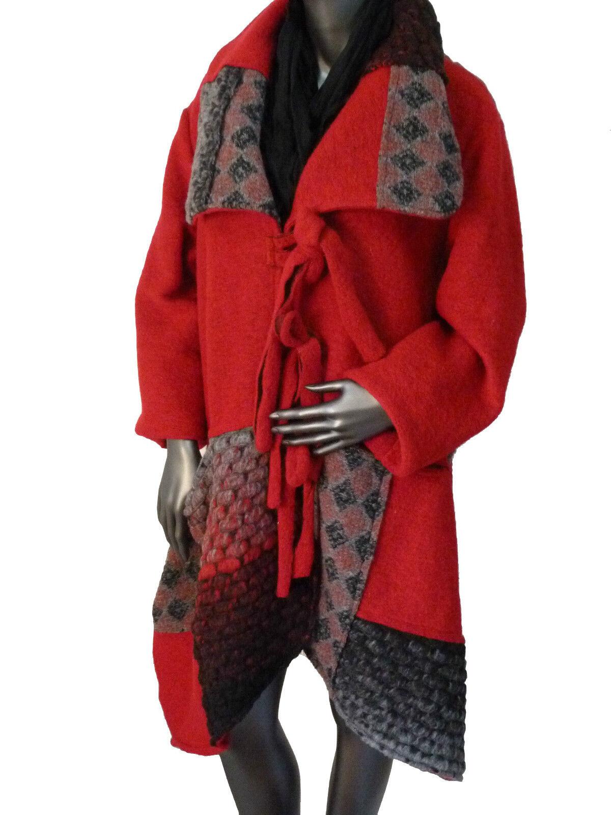 Talla XL abrigo abrigo invernal  remiendos chaqueta chaqueta lana walkwolle rojo Italia  ahorra hasta un 80%