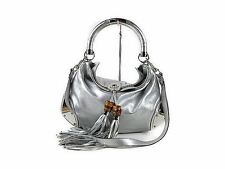 GUCCI Indy Shoulder Bag 177139 Silver leather 100% Authentic From JAPAN