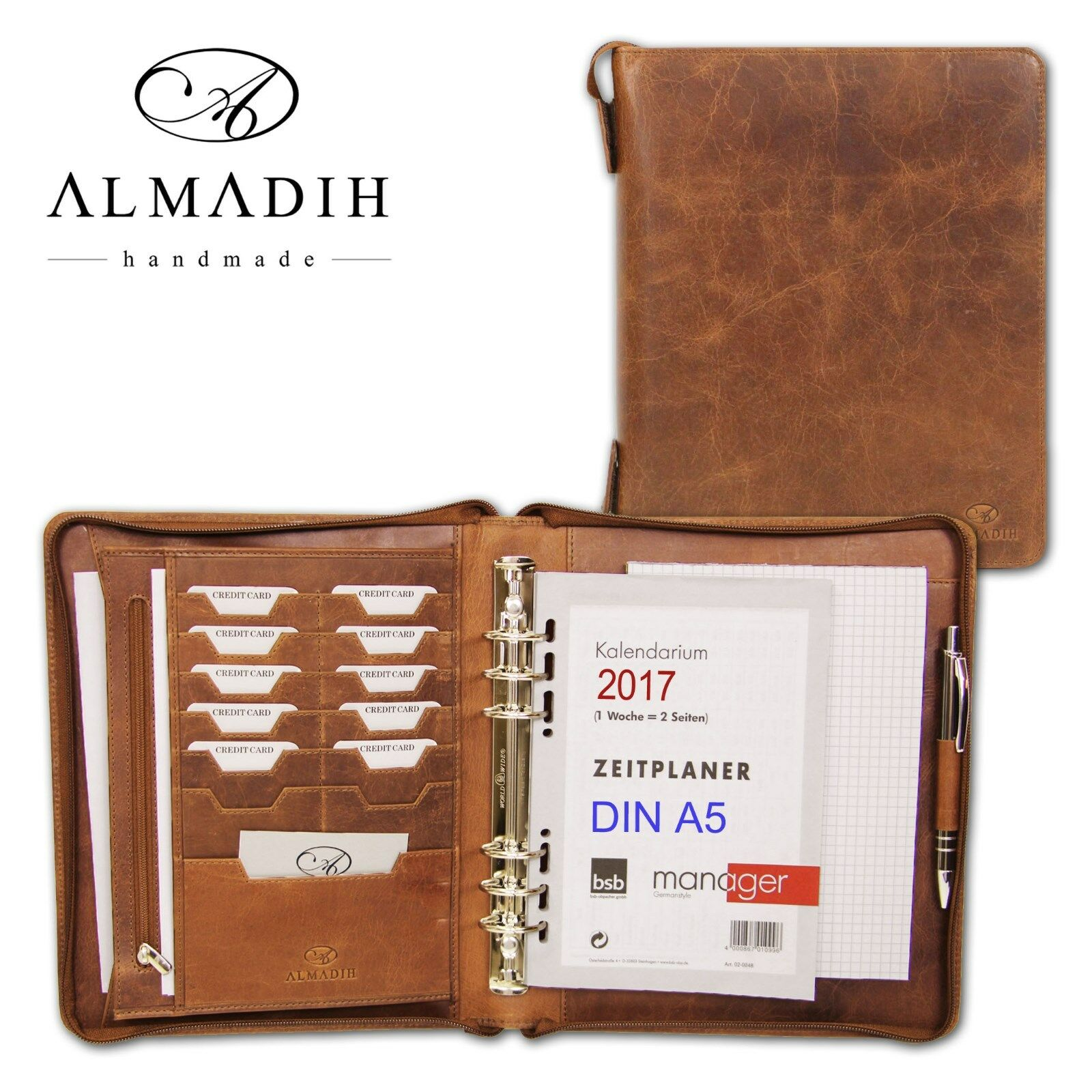almadih leather organiser a5 zip personal organizer. Black Bedroom Furniture Sets. Home Design Ideas