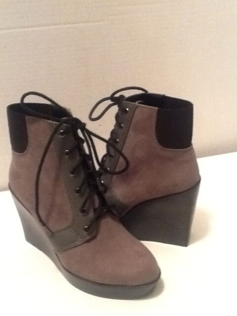 ZARA WOMEN'S GRAY FAUX SUEDE ANKLE WEDGE BOOTS EURO SIZE 35 U.S. SIZE 5