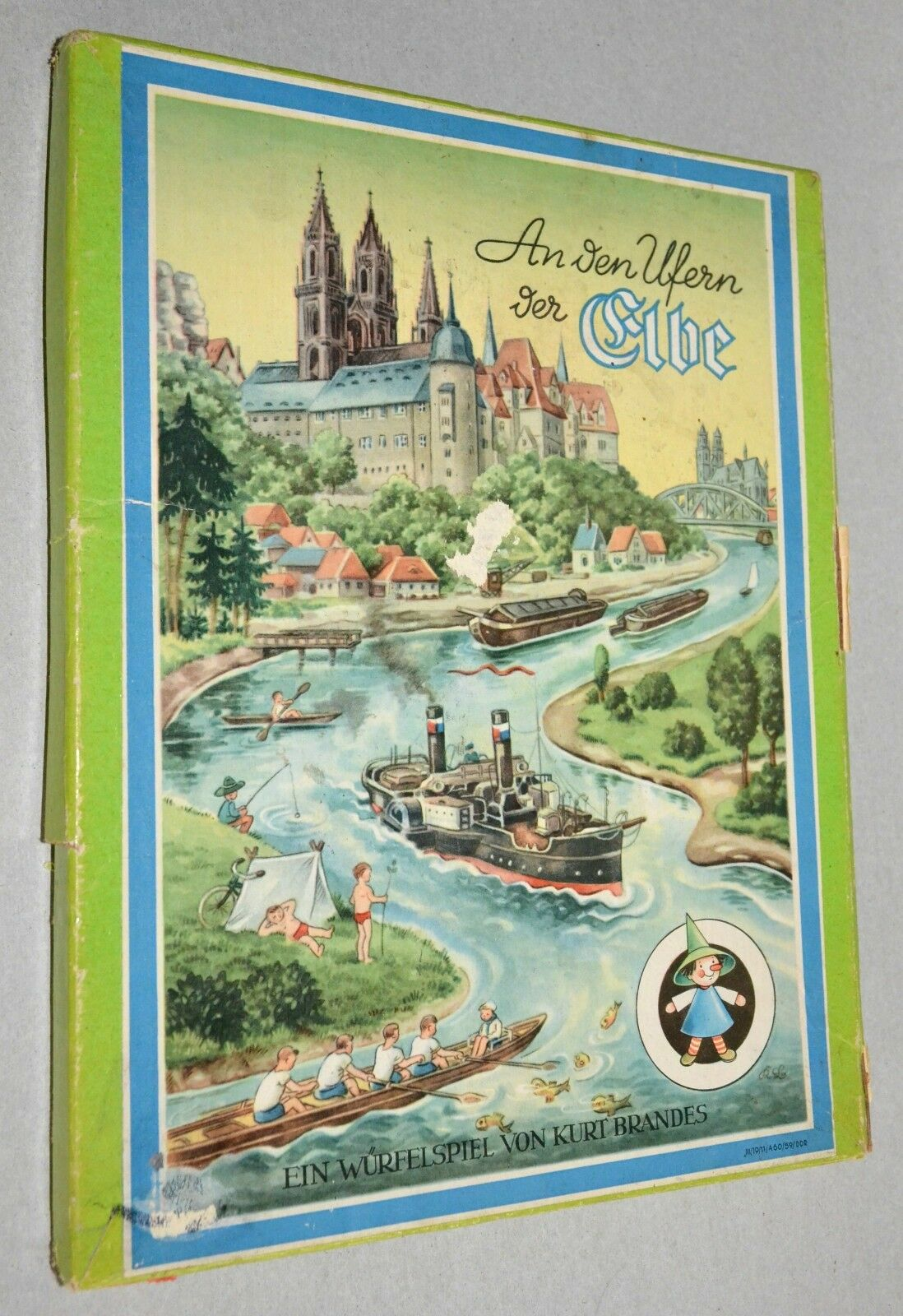 Antique German Board Game An den Ulfern der Elbe