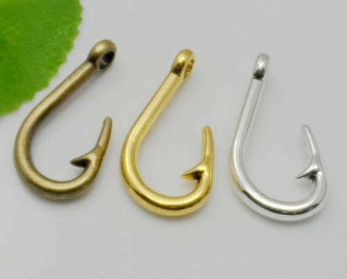 Free Ship 10pcs Antique Bronze Silver Finish Fish Hook Charms Pendant 36x20mm