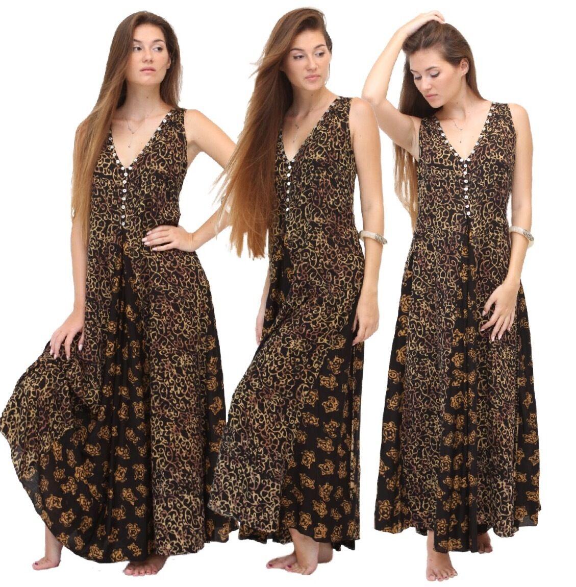 Femme Maxi envoituret Robe-Gauzy Batik Shell Bouton-V388 LOTUSTRADERS Tailles Plus