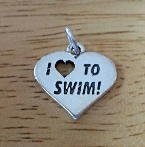 Sterling Silver 28x19mm solid 4 gram I Love to Swim Swimming Heart Charm Heart