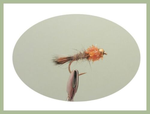 18 GH Hares Ear Orange Collar Standard /& Flash 10//12 Gold Head Trout Flies