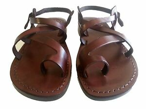 ff4c18819b4 Image is loading UNISEX-Leather-Sandals-Jesus-Shoes-Biblical-Gladiator -Flats-