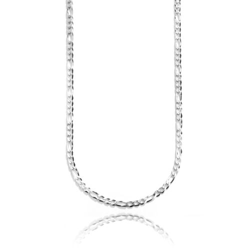 Sterling Silver Rhodium Plated Italian Solid Figaro Chain Necklace,5.4mm