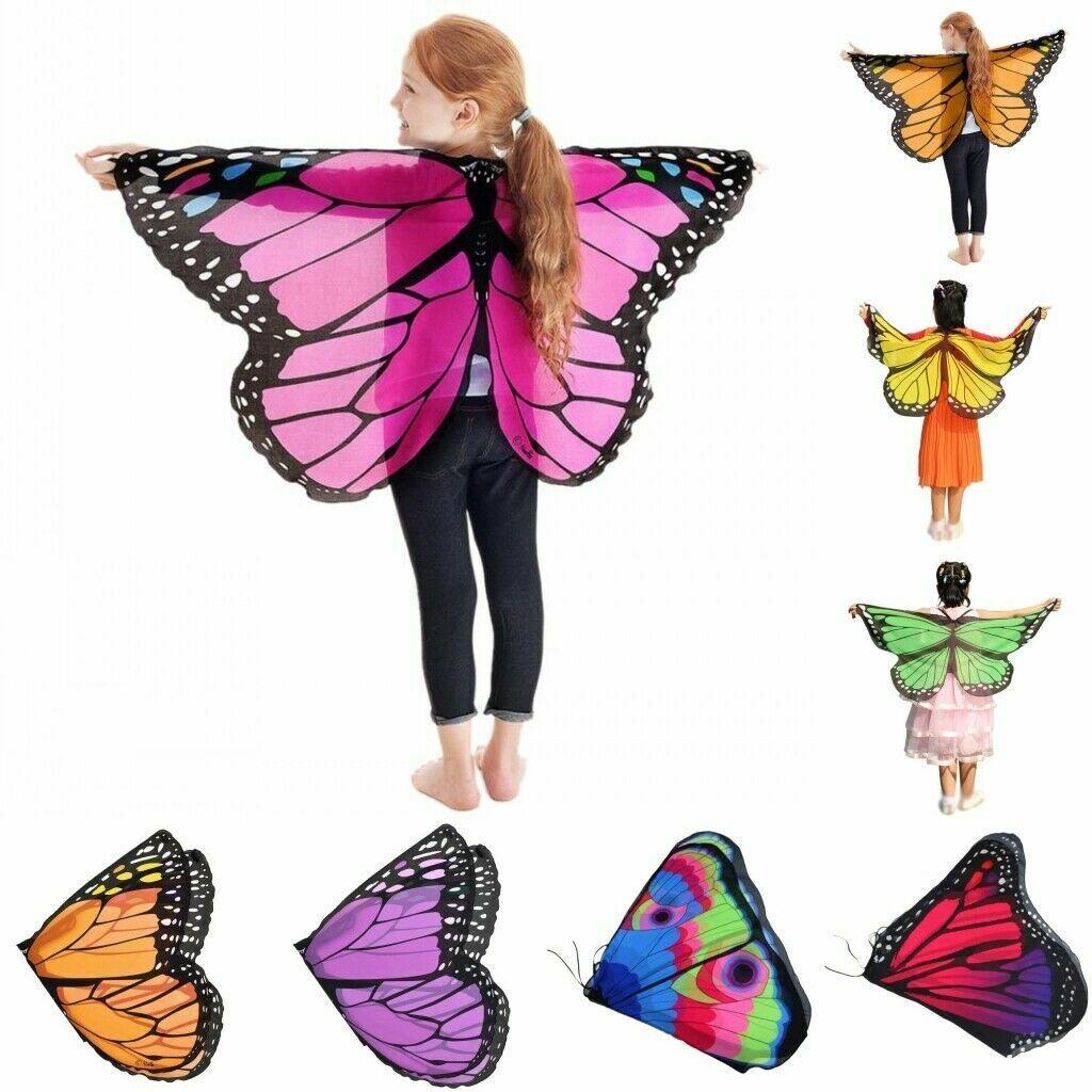 Kids Girl Fairy Butterfly Wings Pixie Cloak Shawl Cape Party Cosplay Fancy Dress