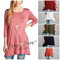 Solid 3/4 Sleeve Long Tunic Top To Wear With Leggings S M L Xl Super Soft