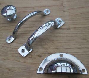 CAST-IRON-ANTIQUE-CHROME-CABINET-CUPBOARD-DRAWER-KITCHEN-DOOR-HANDLES-KNOBS-CUP