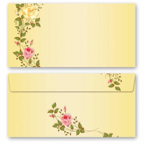 DL Motiv-Briefpapier-Set 40-tlg ohne Fenster ROSENRANKEN