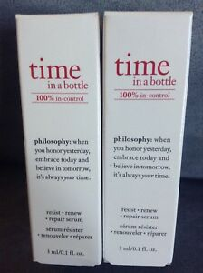 Details about PHILOSOPHY TIME IN A BOTTLE 100% IN-CONTROL RESIST RENEW  REPAIR SERUM 0 1 OZ X 2