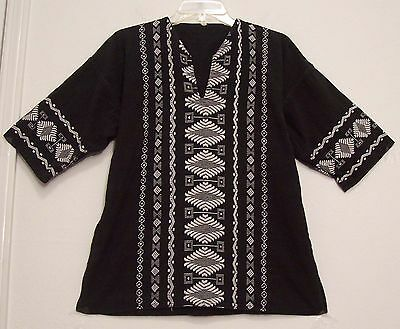 Vintage EMBROIDERED Black w/ White GUATEMALAN Hippie FESTIVAL Top Blouse M/L