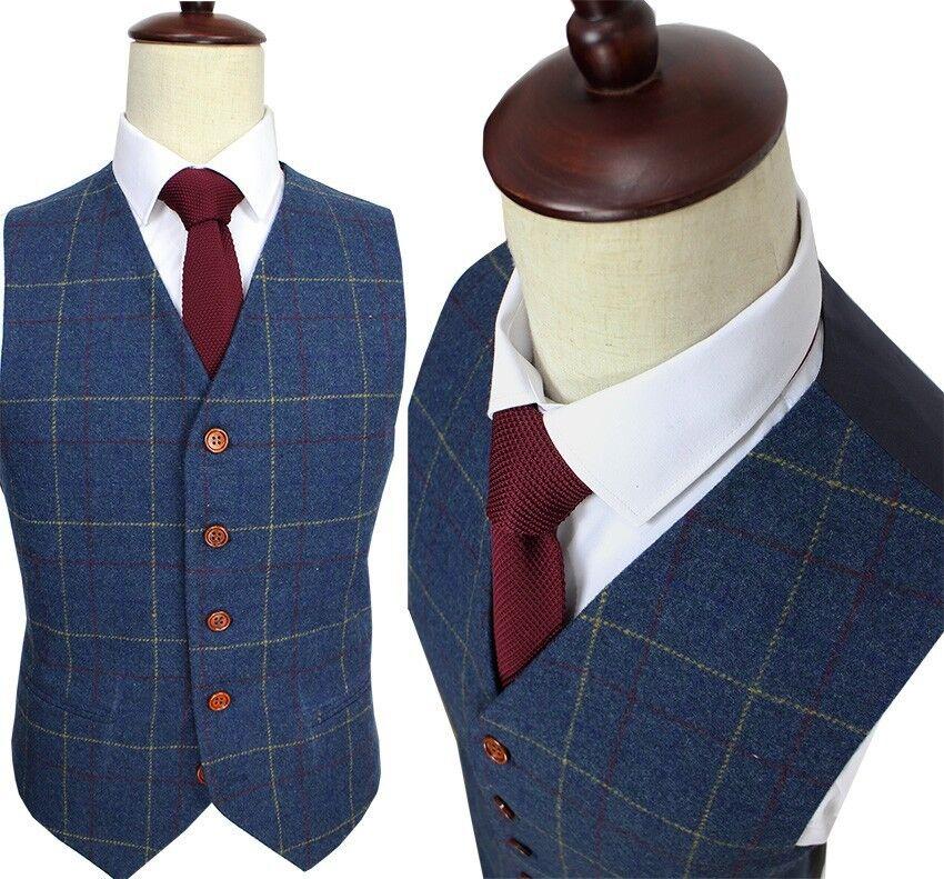 Wool Blend Men Blue Tweed Plaid Vest Tuxedo Wedding Waistcoat Formal Vest XS-3XL