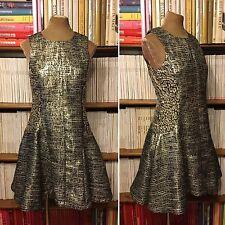 MISS SELFRIDGE fit flare metallic leopard silver tweed dress UK 10 US 6