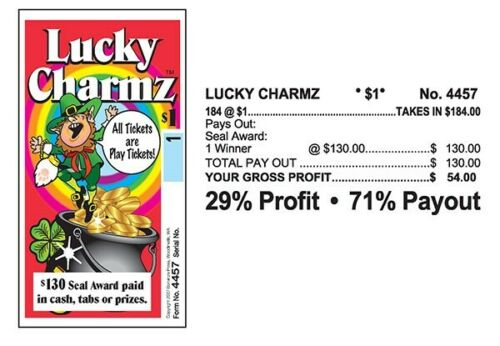 """4 Pack """"Lucky Charmz"""" Pull Tab Ticket $54 Profit 184 Count $130 Payout"""