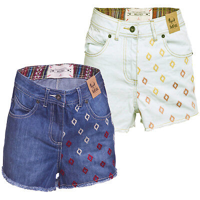GroßZüGig Bellfield Ladies Sandford Designer Patterned High Waisted Denim Cotton Shorts