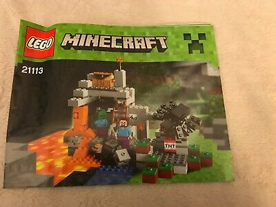 Lego Minecraft The Cave Steve Zombie  21113 INSTRUCTION MANUALS ONLY  NO BRICKS