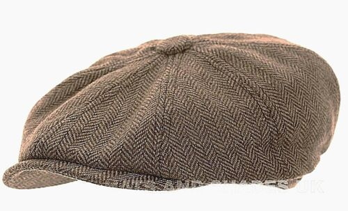 Peaky Blinders Newsboy Hat Gatsby Cap Flat Tweed herringbone 8 Panel Baker Boy