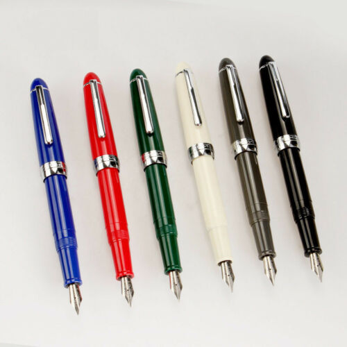 Jinhao 992 Ivory White Plastic Fountain Pen Screw Cap Fine Nib 0.5mm Gift #JK