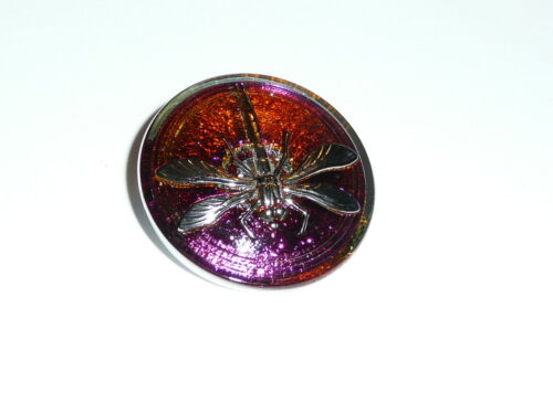 Pretty Dragonfly Czech Glass Vitral Pink w// Silver Dragonfly Shank Button 31mm