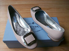 $590 Prada Shoes Rectangle Buckle Logo Patent Leather 39.5 US 9.5 NEW