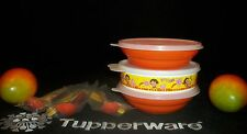 Tupperware 2 ORANGE Cereal Bowls ~YELLOW Dora Big Wonder ~NEW Utensils