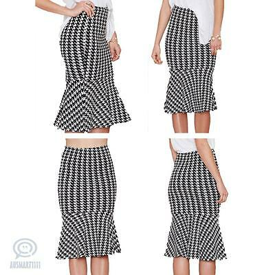 Houndstooth Trumpet Elastic Midi Skirt Women Formal Cocktail Office Casual Dress