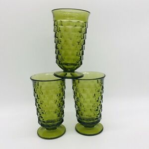 Indiana-Glass-Whitehall-Cubist-Olive-Green-Juice-Glasses-6-Tall-Set-of-3