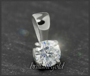 Diamant-585-Gold-Brillant-Solitaer-Anhaenger-0-32ct-River-Si-14-Karat-Weissgold