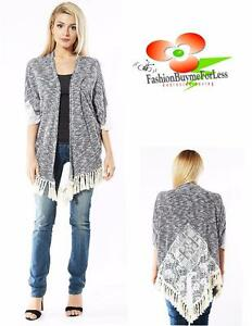Bohemian-Boho-Gypsy-Hippy-Open-Front-3-4-Sleeve-Tweed-Lace-Fringe-Cardigan-S-M-L
