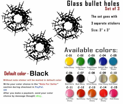 Vinyl Decals Gun  Bullet Holes Sticker Car Wall  Design Window Art Laptop Decor