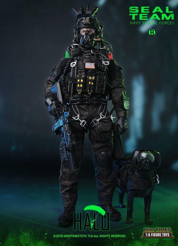 1 6 Mini times toys US Navy SEAL Team B HALO Action Figure Set W Dog M013 Model
