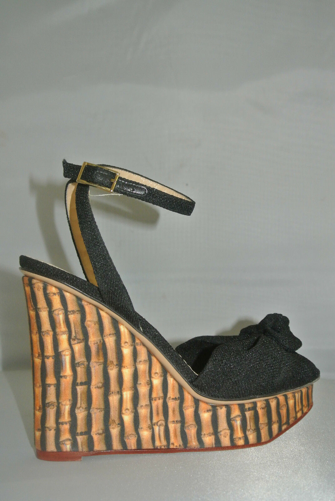 Charlotte Charlotte Charlotte Olympia Bamboo-Print Wedges with Ankle Strap Sz 38.5 NEW abbf43