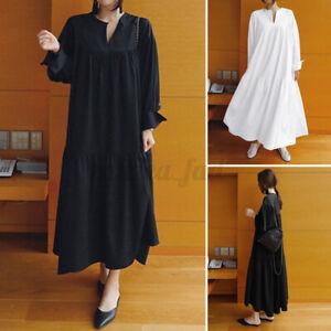 ZANZEA-Womens-Oversized-Cotton-Long-Sleeve-Casual-Loose-Kaftan-Baggy-Maxi-Dress