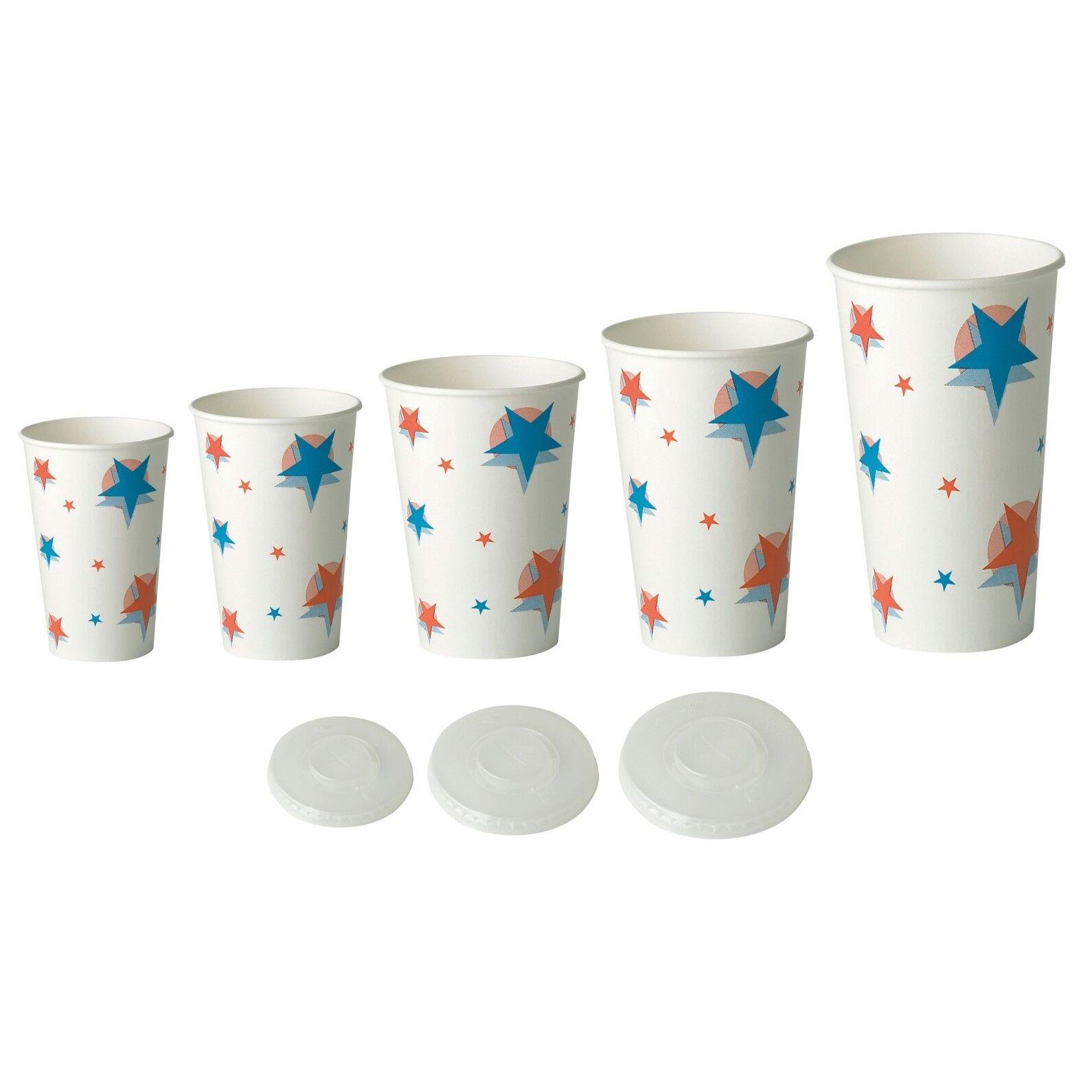 Bulk Case Disposable Paper Starball Cold Drink Cups Lids 7oz 9oz 12oz 16oz 22oz