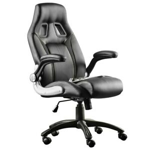 Fauteuil-Bureau-Gamer-Noir-Sport-Racing-Design-Confortable-Pivotante-Gaming-Fr