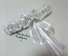 Minnie Mouse Silver & White Disney Themed Bridal Wedding Garter. toss garter